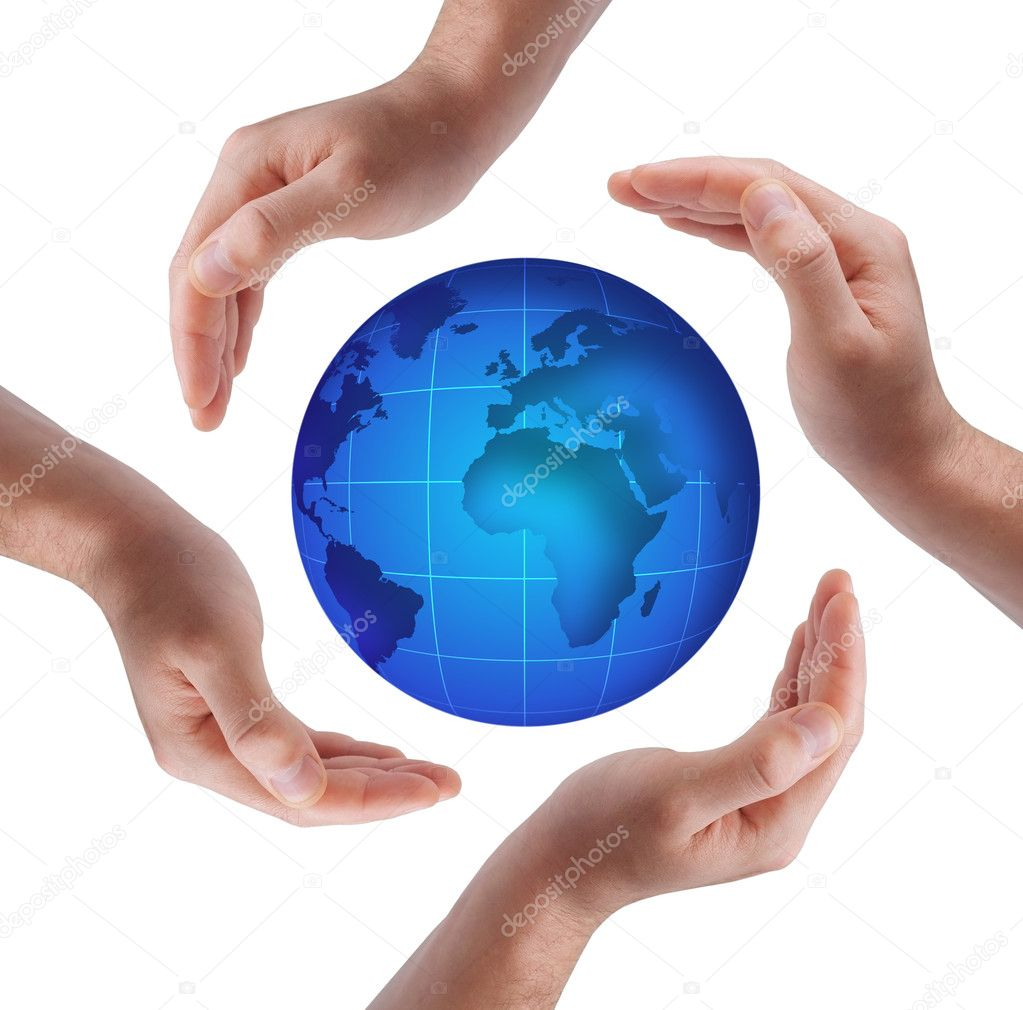 Conceptual safety symbol made from hands over globe — Stock Photo #1429148