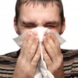 Young man having flu — Stock Photo #1436732