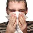 Stock Photo: Young mhaving flu