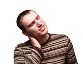 Young man having neck ache — Stock Photo