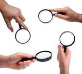 Set van menselijke handen met vergrootglas — Stockfoto