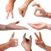 Set of hand signs — Stock Photo