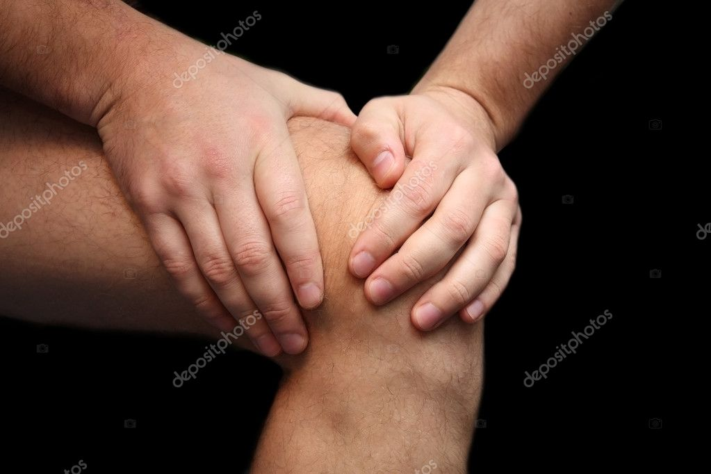 Young man having knee ache — Stock Photo #1436329