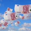 Flying euros — Stock Photo