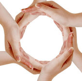 Circle made of human hands — Stock Photo