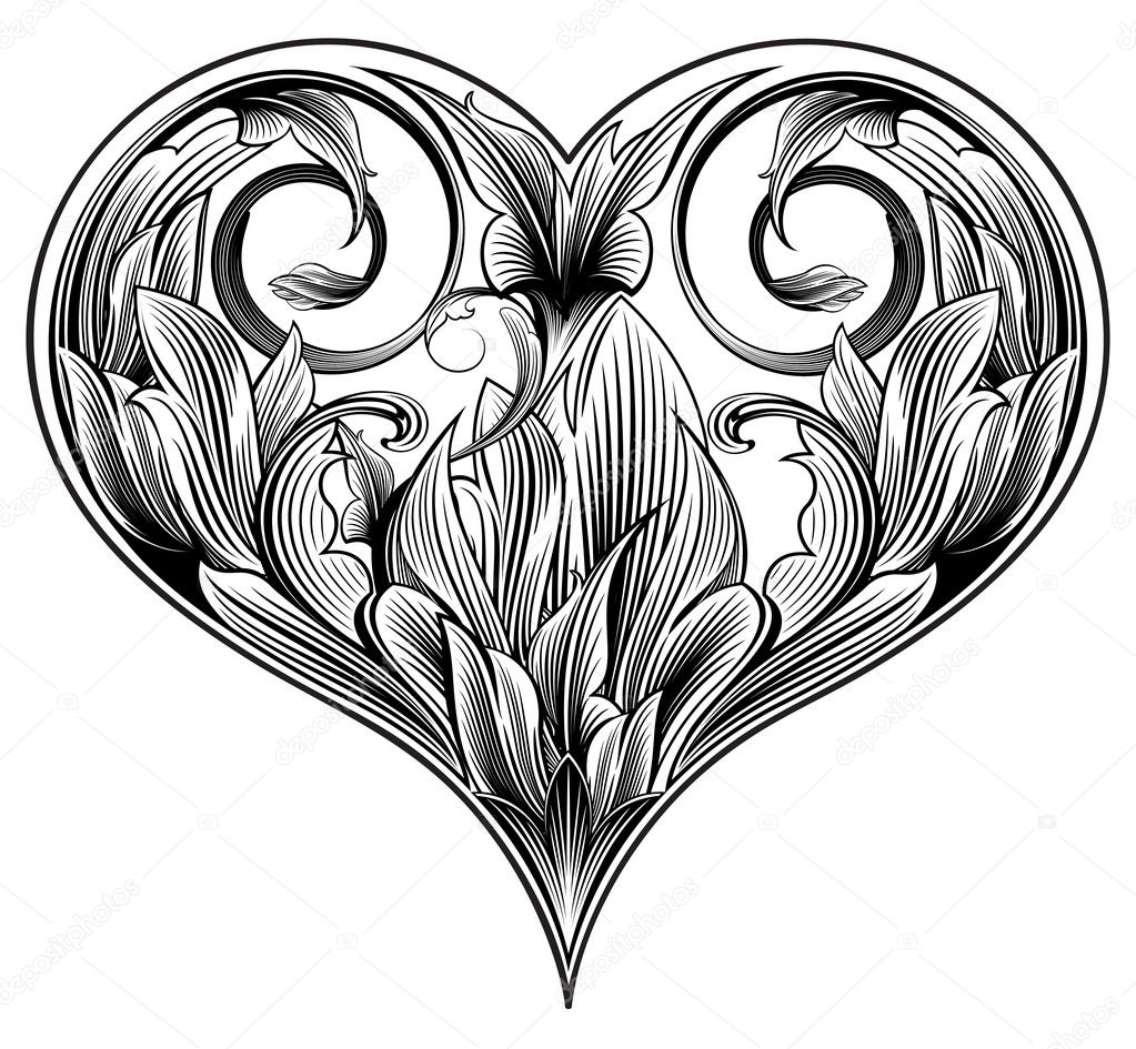 Abstract ornamental heart to valentine's day. Floral design — Stock Vector #1392263