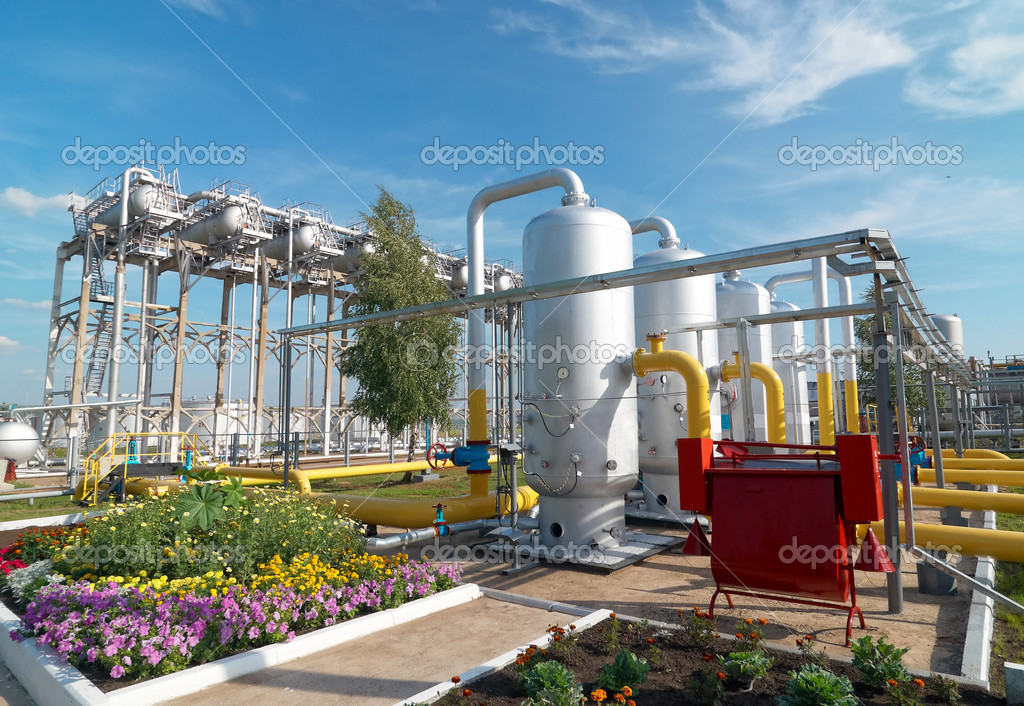 Oil and gas industry. Gas processing factory — Stok fotoğraf #1823509