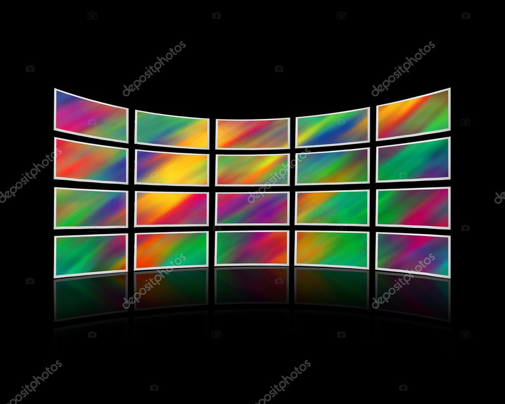 Room with a wall of tv screens — Stock Photo #1400072