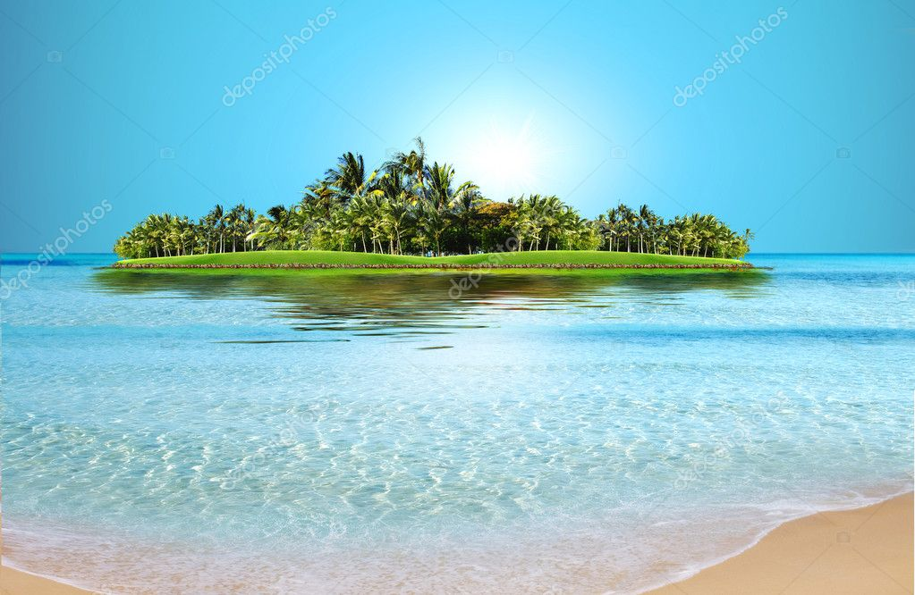 Exotic beach under a blue sky  Stock Photo #1400122