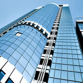 Angled business skyscraper with — Stock Photo