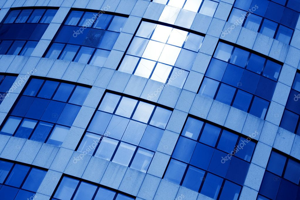 Abstract diagonal square crop of blue business office skyscraper — Stock Photo #1455934