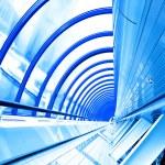 蓝色的未来派走廊 — 图库照片