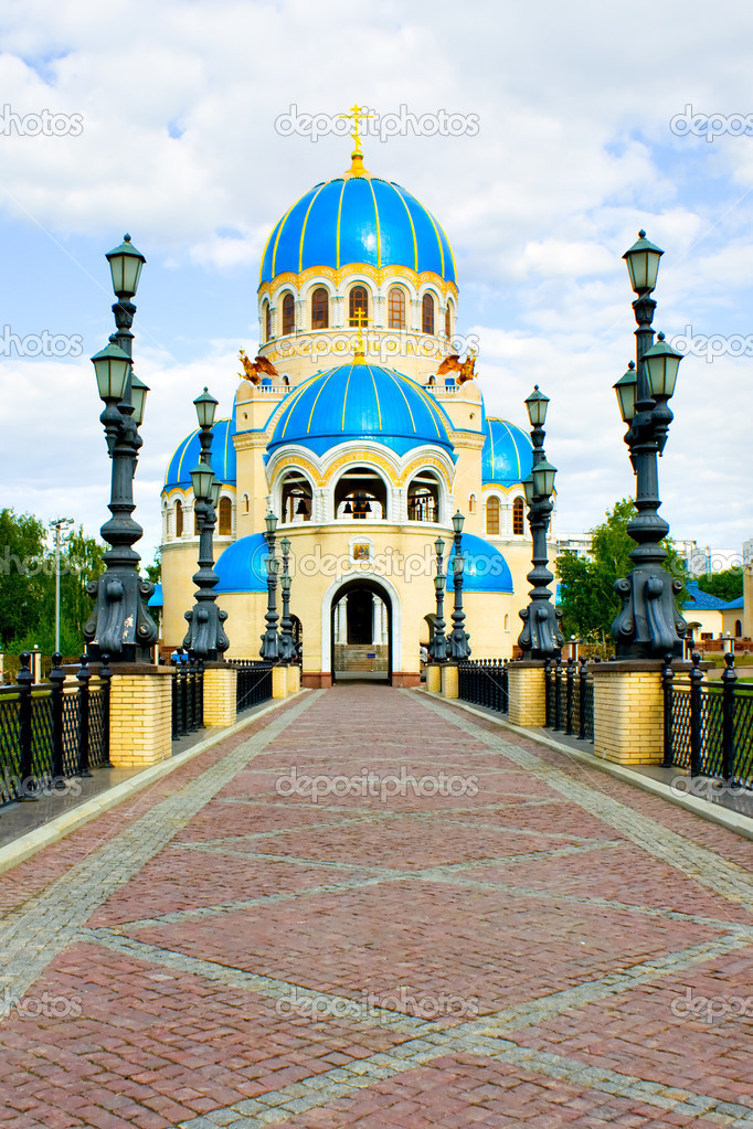 Blue abstract church in Moscow, Russia and bright sky  Stock Photo #1487148