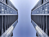 Symmetric business skyscrapers — Stock Photo
