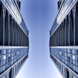Symmetric business skyscrapers - Stock Photo