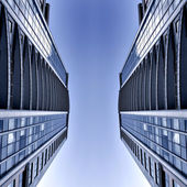 Symmetric business skyscrapers — Stock Photo