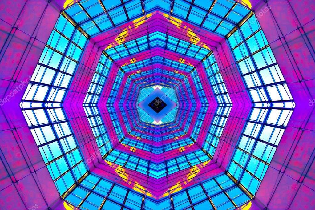 Violet illuminated ceiling indoor shopping mall — Stock Photo #2068379
