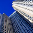 Diagonal wide wall of business center — Stock Photo