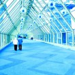 Indoor glass corridor — Stock Photo