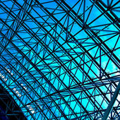 Abstract blue geometric ceiling — Stock Photo