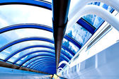 Modern futuristic corridor in airport — Stock Photo