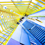 Staircase and yellow glass corridor — Foto Stock