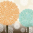 Royalty-Free Stock Векторное изображение: Vector set of spiral pattern tree