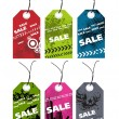 Royalty-Free Stock Vector Image: Et of six grungy tag with sale