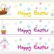 Set of three happy easter banner — Stock Vector