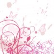 Vector de stock : Grungy background with swirls, butterfly