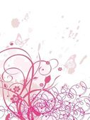 безобразный фон с завитками, бабочка — Cтоковый вектор