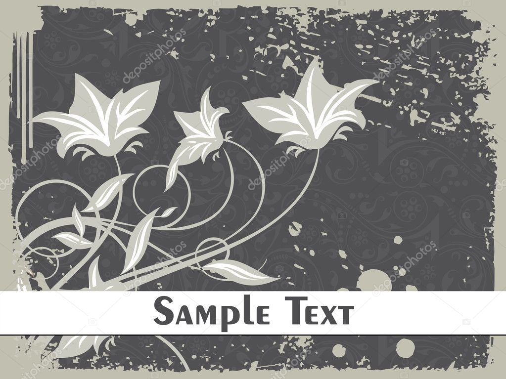 Grungy border background with semless pattern and floral — Stock Vector #1449677