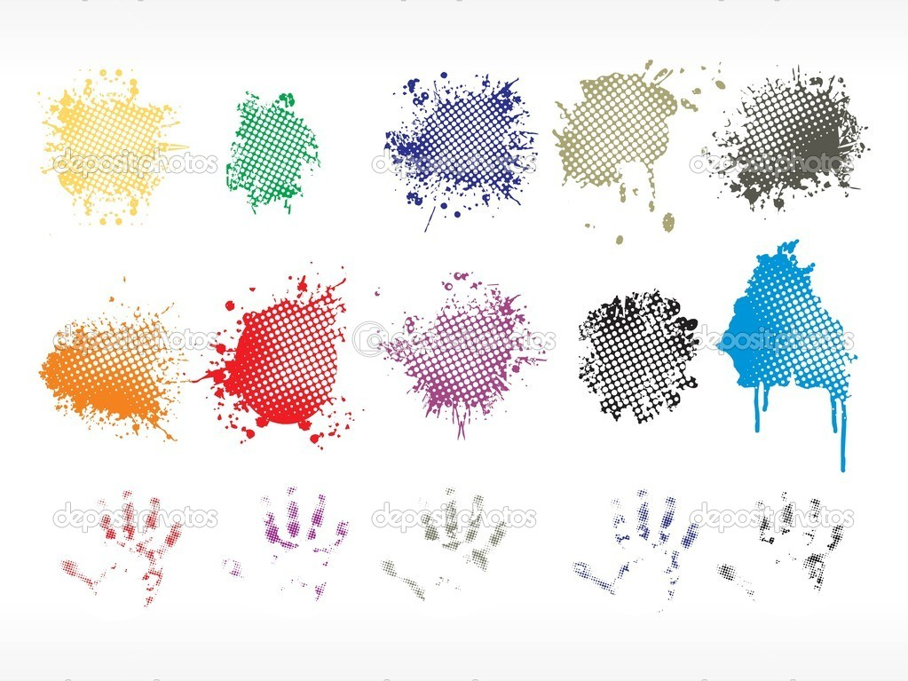 Background with colorful grungy spot, hand print — Stock Vector #1449722