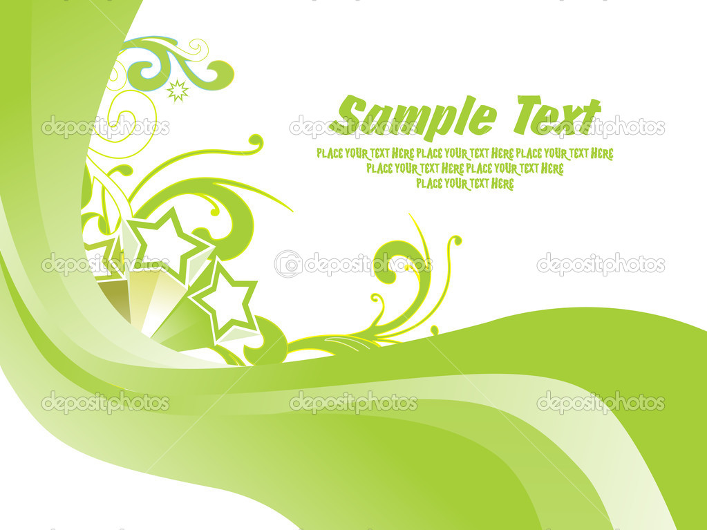 Abstract stripes background with green floral  Stock Vector #1449958