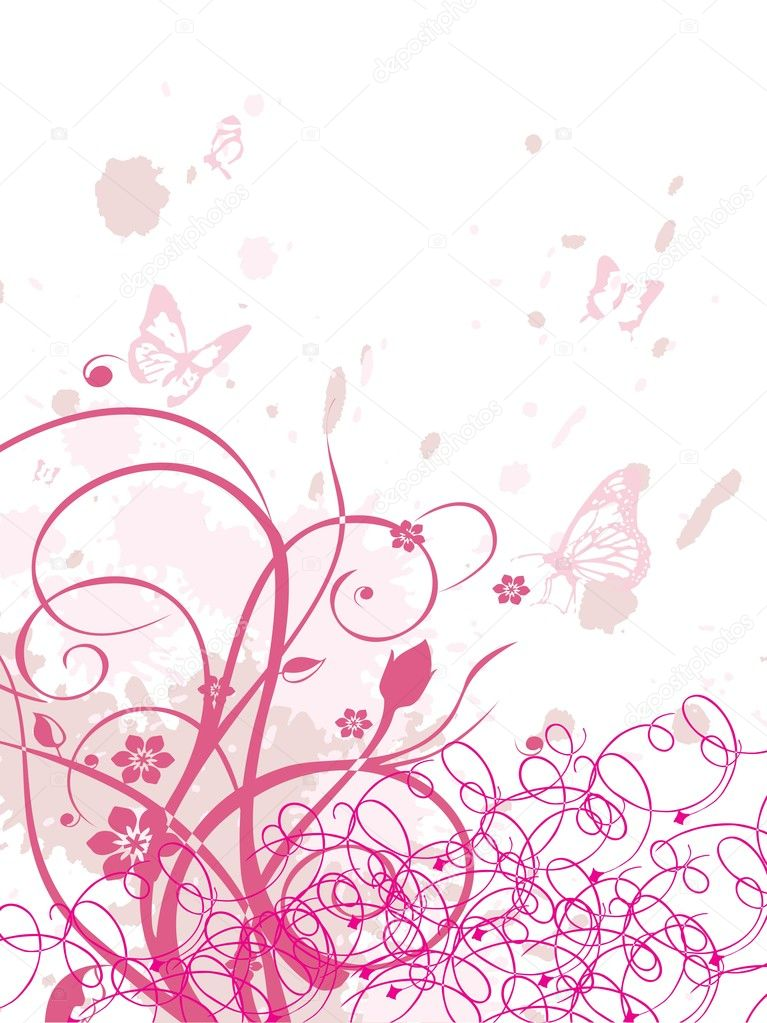White grungy background with pink swirls and butterfly — Stock Vector #1449975