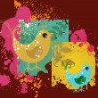Royalty-Free Stock Vectorielle: Set of cute birds with grunge background