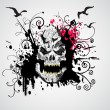 Grungy skull illustration — Vector de stock