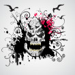 Grungy skull illustration - Stock Vector