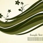 graue Wellen und Blumen Hintergrund — Stockvektor