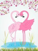 Illustration cute romantic waterbird — Stock Vector