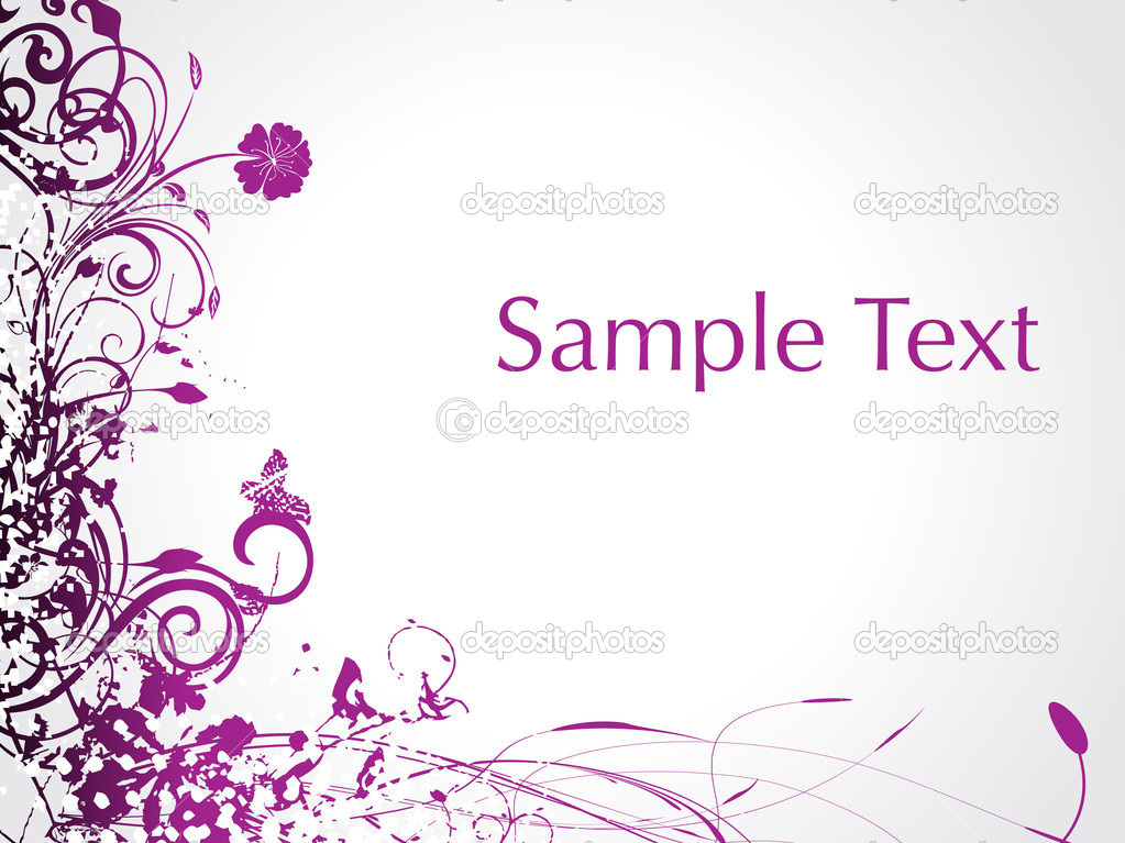 Purple swirl with butterfly, sample text illustration  Stock Vector #1450003