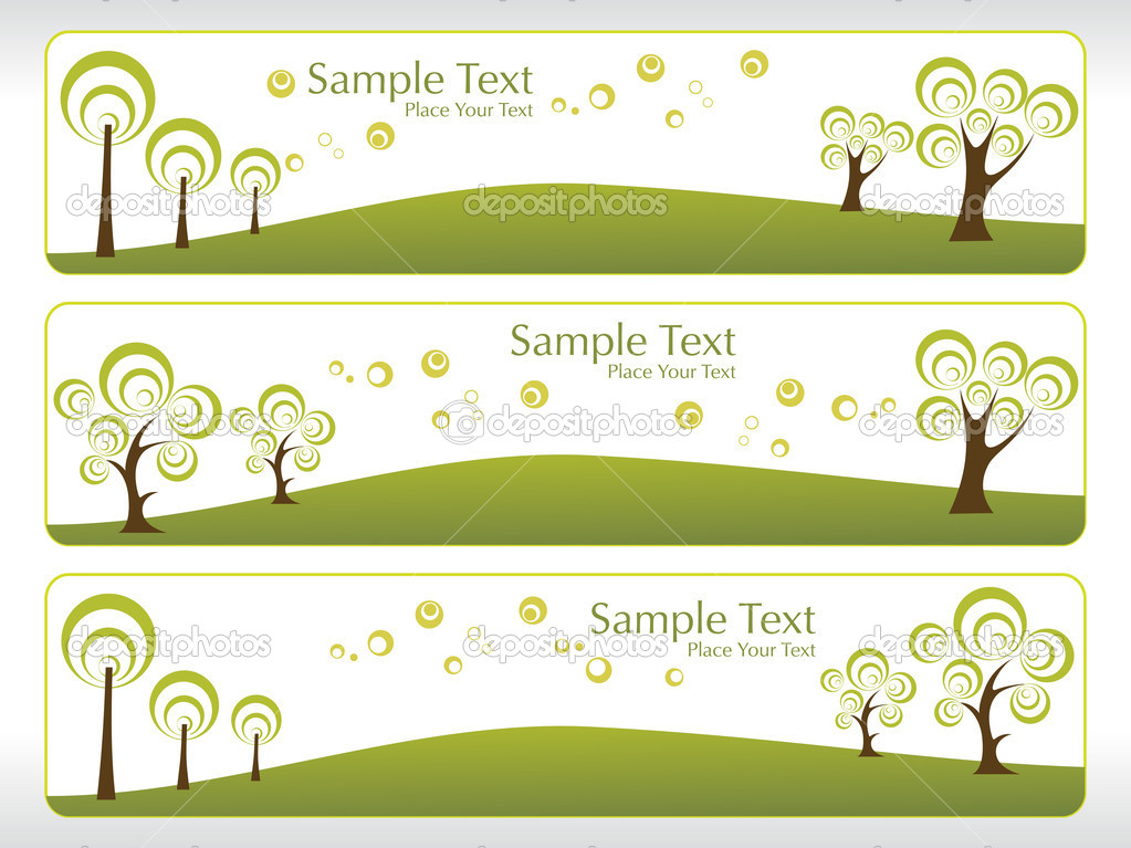 Natural pattern banner with ecology tree — Stock Vector #1451437