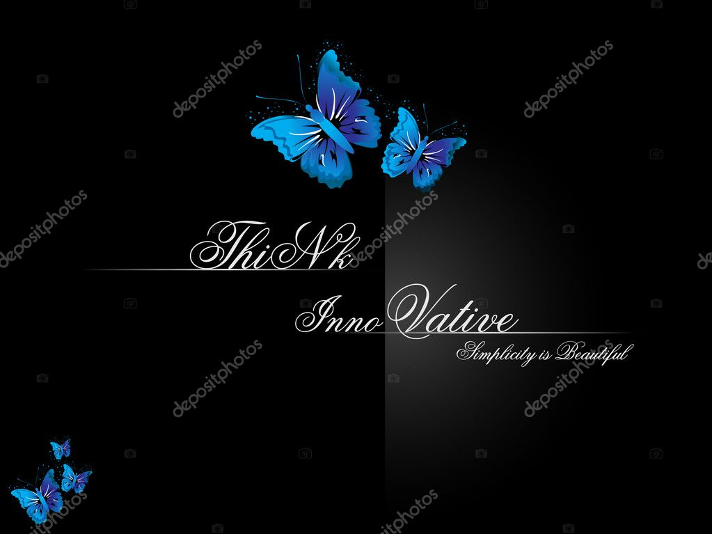 Abstract balck think innovative background with blue butterfly — Stock Vector #1451449