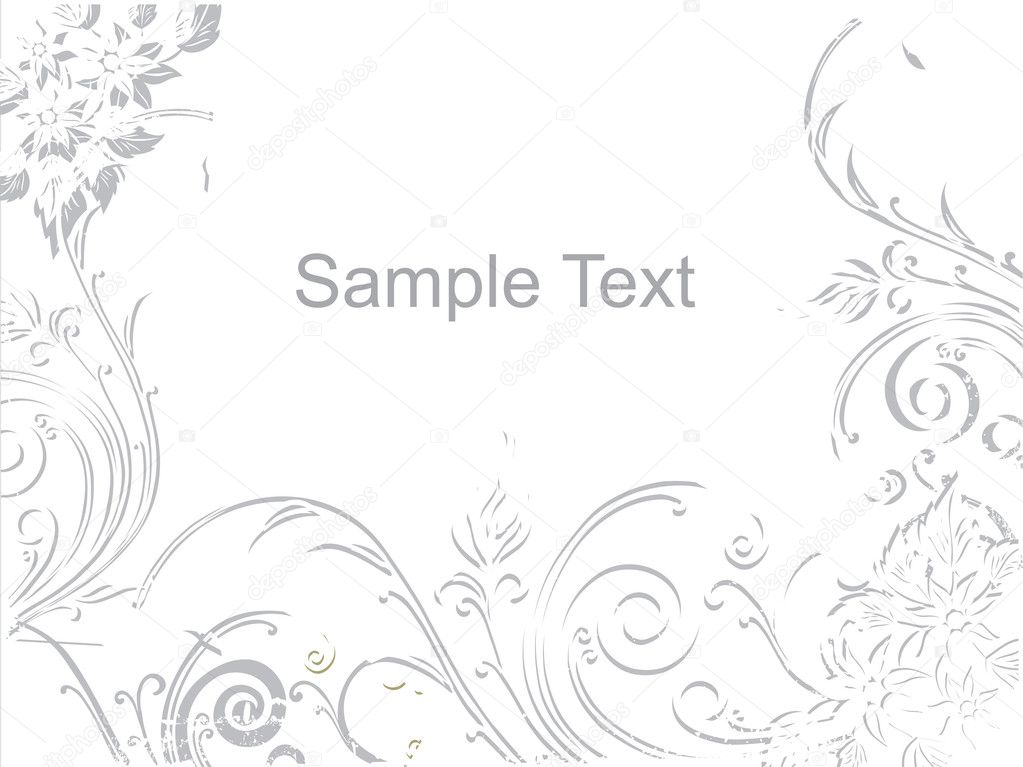 Grey waves and flower background with place for text — ベクター素材ストック #1459314