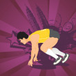 Royalty-Free Stock Imagen vectorial: Man ready for run on the start position