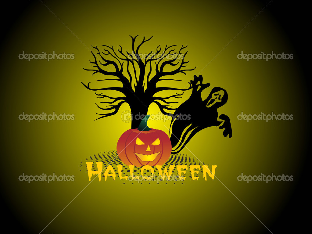 Abstract night background with dead tree, spider hanging on halloween — Stock Vector #1467556