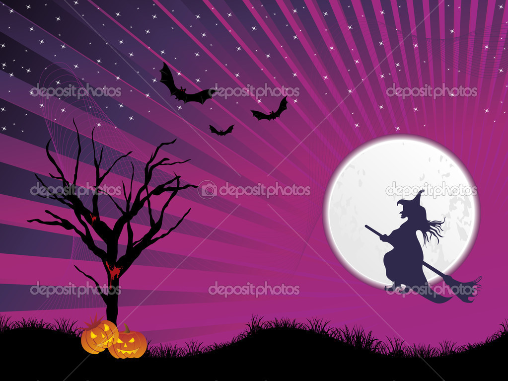 Abstract night background with dead tree, spider hanging on halloween — Stock Vector #1467599