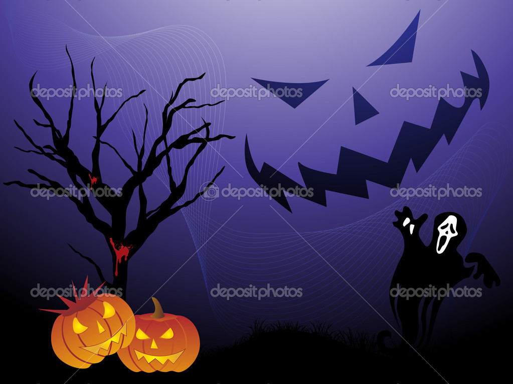 Abstract night background with dead tree, spider hanging on halloween — Stock Vector #1467604