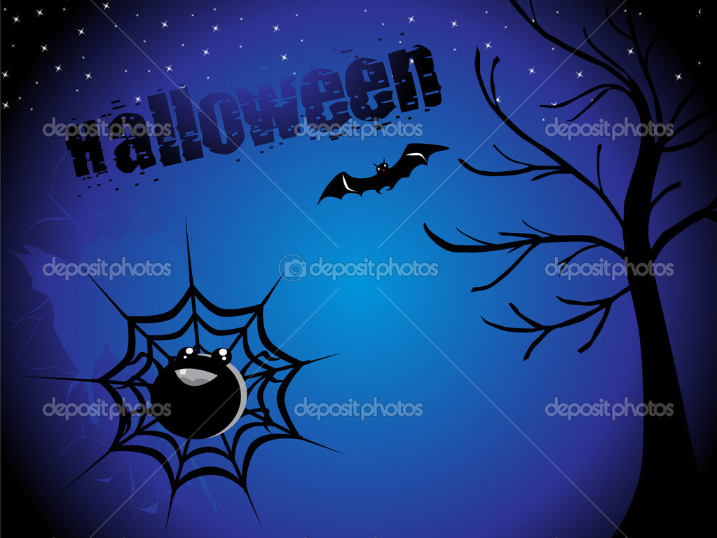 Abstract night background with dead tree, spider hanging on halloween — Stock Vector #1467631