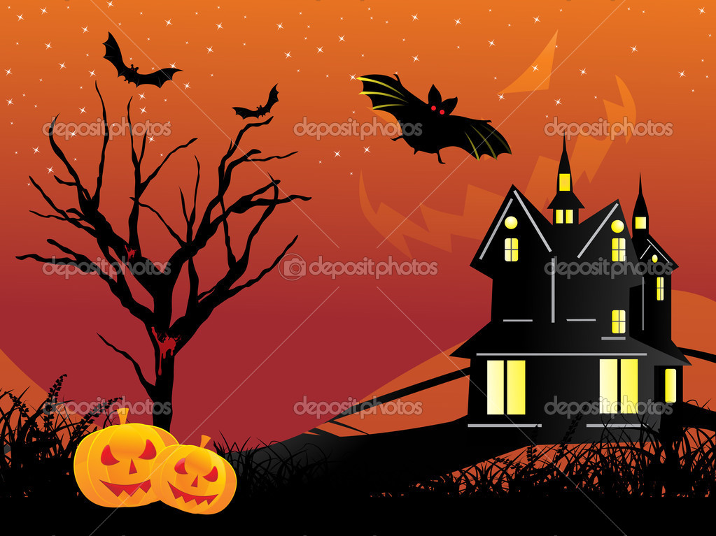 Abstract night background with dead tree, spider hanging on halloween  Stock Vector #1467792